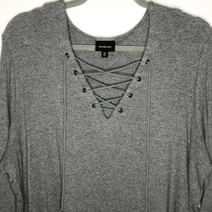 Who What Wear Lace Up Grey Rib Top